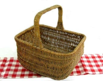 Antique Woven Wicker Rectangular Farmhouse Gathering Market Basket