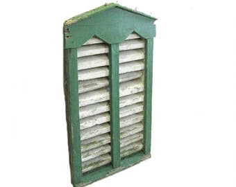 """Primitive Barn Vent, Louvered, Green and White Paint, from PA Barn, Architectural Salvage, 41""""H, Farmhouse, Cottage Decor"""