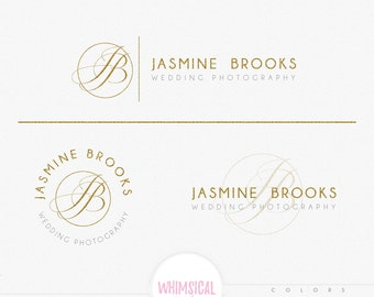 Fancy Initials Circle-Feminine Watercolor Design Branding Package Inc. Photography - GOLD GLITTER initials letters script Watercolor Logo