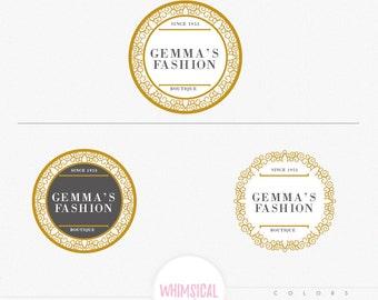 Luxury Circle Frame Logo - Circle Frame Logo pattern floral elegant style boutique MINI branding pack , boutique branding kit, bakery store