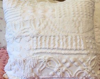 "REDUCED PRICE-Shades Of White Patchwork Chenille Pillow Cover for 18"" Pillow Insert Was 35.00 Now 30.00"