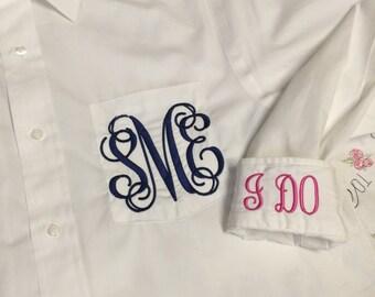 Bridal Party Shirts, Personalized  Wedding Oxford Shirts,  Bridal Button Down Shirt Monogrammed, Bridal Party Monogrammed Shirts