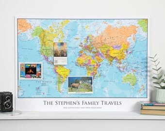 Personalized World Map - Travel map, gift, push pin map, holiday, travel, home decor, wall art, map poster, wall hanging, personalized map