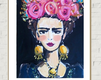 Frida Kahlo Portrait PRINT, large frida, frida art