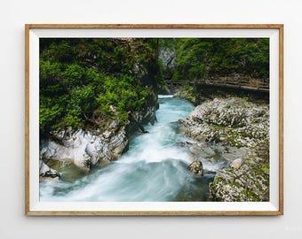 Digital printable photo,Mountain river stream photo,High quality picture,Art print photo,Slovenia photo,Blue river photo,Instant download
