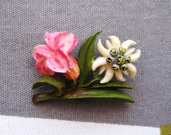 Vintage 1930's Carved Celluloid Gentian (?) and Edelweiss Flower Brooch - Tiny