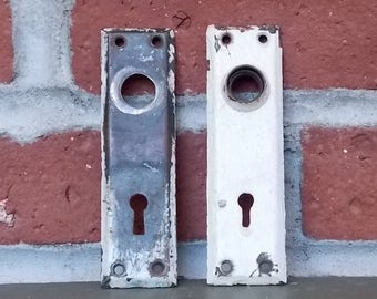 Faceplate Set of Two Vintage Doorknob Faceplates with Keyhole Rustic Painted Screen Door Replacement Hardware