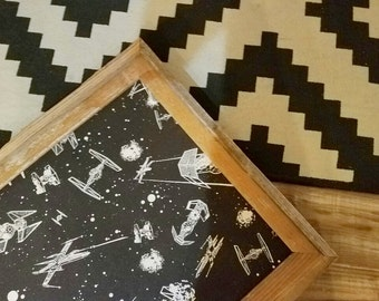 Star Wars Fabric Cork Board ~ Reclaimed Wood Frame ~ Ready to Ship ~ Framed Cork Board
