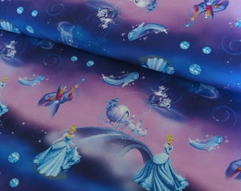 Cinderella on cotton lycra jersey knit fabric - UK seller
