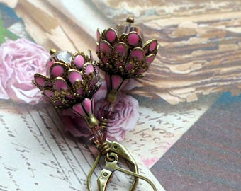 Flower Earrings, 'Vintage Rose', Victorian Earrings, Vintage Style Earrings, Boho Earrings, Dangle Earrings, Pink Earrings, Mothers Day Gift