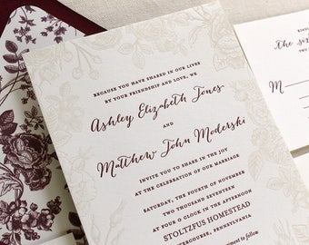 The gladiolus suite letterpress wedding invitation sample for Rose gold winter wedding invitations