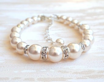 Bridesmaid Proposal Bridal Pearl Bracelet Ivory Wedding Bracelet Bridesmaid Bracelet Bridesmaid Gifts Ideas Pearl Wedding Jewelry New A044