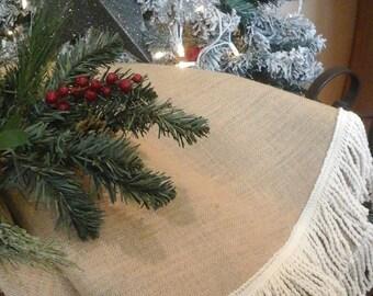 Christmas Tree Skirt,Natural Burlap, Coastal Christmas , Modern Farmhouse,Beach,Nordic|Cottage|Natural Burlap Tree Skirt|