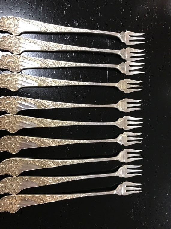 Victorian pickle forks set of ten