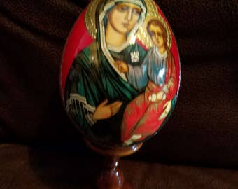 Russian Wooden Egg W/Stand