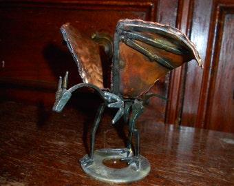 Small Hand Made Metal Dragon Statue