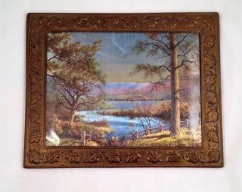 Vintage Dufex Foil Landscape Print Copper Frame Ivy Leaves