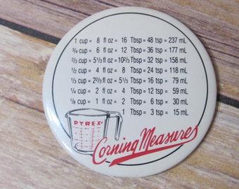 Corningware Measurment Conversions; 1980's collectible kitchen magnet