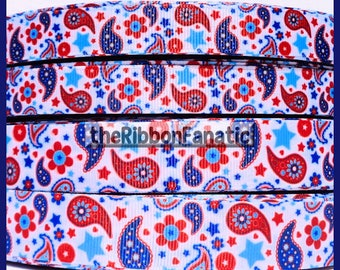 "5 yds Patriotic Paisley and Stars July 4th 2 Sizes 5/8"" 7/8""   Grosgrain Ribbon"