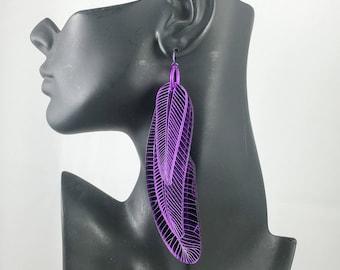 Purple Feather Earrings Mirror Parrot Mardi Gras Carnival
