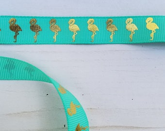 5/8 inch TROPIC with GOLD FLAMINGO grosgrain ribbon