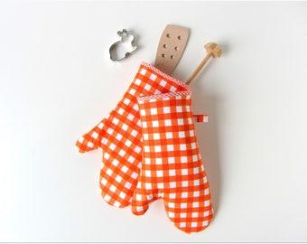 Oven glove oven mitt pot holder oven cloth orange white