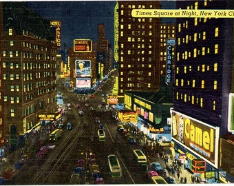 Times Square at Night New York City NYC Vintage Postcard (unused)