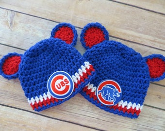 Cubs Crochet Hat, Baseball, Newborn to Toddler, photo prop, MLB, shower gift, girl boy, choose CUBS or BEAR Patch, Chicago