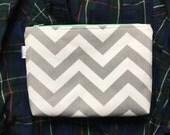 Gray Chevron Makeup Bag Zipper Pouch