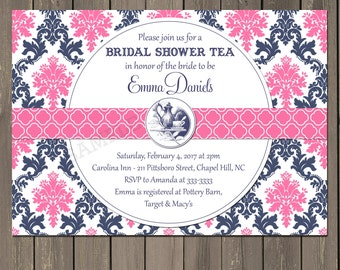 navy blue and pink wedding etsy