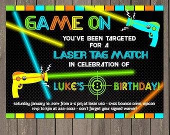Laser Tag Invitation, Laser Tag Birthday Invitation, Boys Laser Tag Party Invite, Printable or Printed