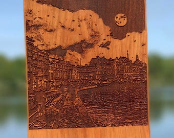Laser Engraved Wooden Photography - Down by the Canal