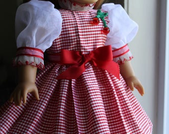 Red and White Silk Dupponi Gingham Dress
