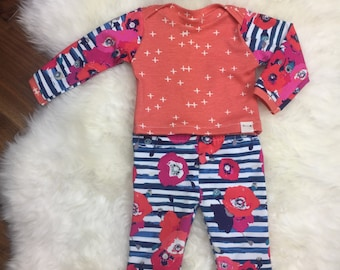 Poppy Girl Coming Home Outfit~poppy leggings, coral +'s laptee, poppy top knot