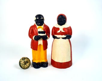 Black Americana Cast Iron Banks, Aunt Jemima and Uncle Mose Bank, Vintage Bank, Metal Bank, Collectible Bank, Cast Iron Figurines