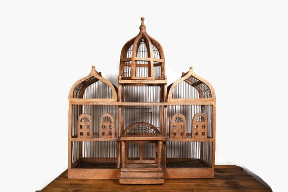 victorian bird cage large wooden bird house antique bird. Black Bedroom Furniture Sets. Home Design Ideas