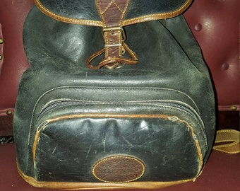 80s Distressed Leather Eddie Bauer Backpack. 14x14 Sold As Is