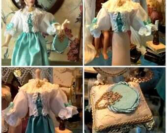 Dollhouse wearable Victorian blouse and handbag/purse set Beautiful 12th scale MADE TO ORDER