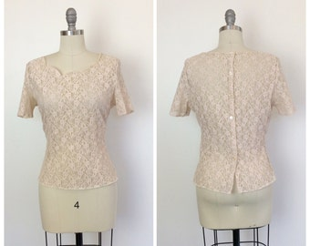 50s Light Pinky Peach Lace Blouse / 1950s Vintage Sheer Top / Large / Size 10