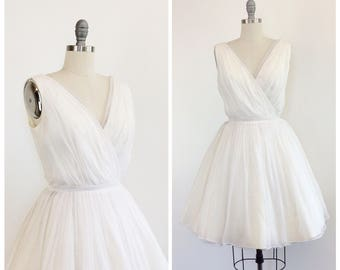 50s White Chiffon Party Dress / 1950s Vintage Wedding Prom Dress / Medium / Size 8