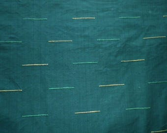 Unusual Green Corded Cotton Interiors Fabric Curtains Throws Campervan