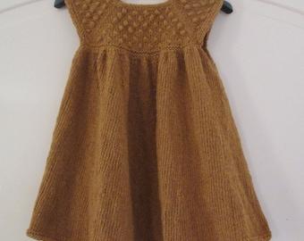 Hand Knitted Toddler Dress. Wool Dress. Mustard Dress. Size: 24 Months. Ready to Ship.