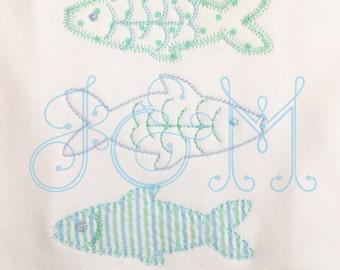 Three FIsh Applique Embroidery Design