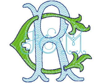 RC CR Double Letter Intertwined Monogram Embroidery Design Vintage Antique Style