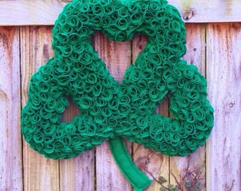 St. Patrick's Day Wreath, Shamrock Wreath, Irish Wreath, Spring Wreath, Green Felt Shamrock Wreath