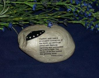 One Ezekiel 1:4 Wheel UFO Alien Outer Space Craft Rock Stone Art Ezekiel's Ship