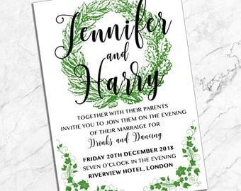 Evening Guest  |  Wedding Invitation  |  Leafy Green