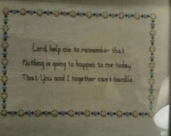 Counted cross stitched saying from 1970's.