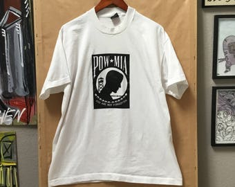 Vintage POW MIA Shirt Made in USA Prisoner of War / Missing In Action Best Fruit of the Loom 90's Size xl You Are Not Forgotten