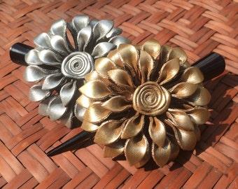 Leather Flower Hair Clip / Silver & Gold Dahlia / Flower Hair Accessories / Alligator Clips / Hair Pin /  Leather Hair Clip /  Handmade